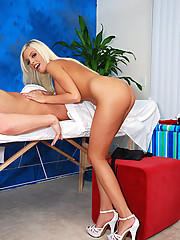 Hot blonde 18 year old gives a intoxicating massage with a surprise ending!
