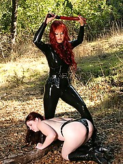 Slave taken into the forest for a kinky outdoor training