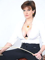 Cleavage and cane jodphur mistress