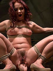 Horny Russian rope slut Olga Cabaeva bound and fucked silly.