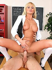 Busty Brooke gets horny at school