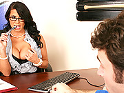 Busty agent gets ball player to play with her titties and sign a contract