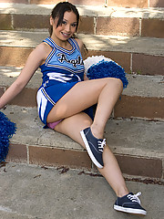 Sexy little vixen Sasha Yung looks amazing in her college cheerleader outfit and braces. Watch her represent hairy pussies with pride.