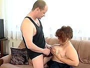 Big old fatty gives tit wank