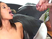 HotWifeRio fingers her pussy then gets a big load of cum shot on her face