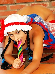 Isabella has some naughty fun dressed as a doll