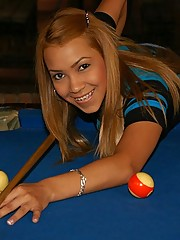 Tania decides to play a game of pool fully naked