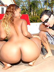 Amazing mega hot ass babe juicy gets her 40 inch plus mega round ass fucked and creamed on in this hot ouotdoor pool fucking pics set