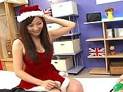 Reo Matsuzaka Asian doll in costume awaits masturbation