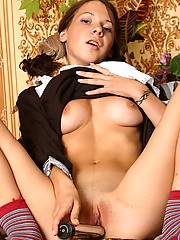 A very horny maid cant stop touching herself