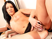 Nubile Mikka brings her shaved pussy to orgasmic bliss with her fingers