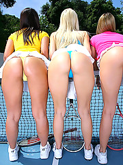 4 hot tennis teens fuck their hot mini skirt asses and pussies in this hot lesbian orgy reality pic set