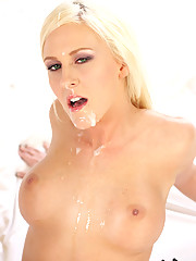 Sexy blonde Felicia Fallon wakes to a huge cock in her watering mouth