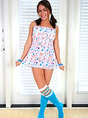 Taylor Lain slips off her little dress and only has on tube socks
