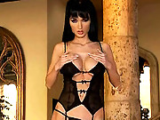 Roxanna spreads her stocking covered legs wide open