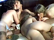 Three hot retro babes pleasuring a chaps cock