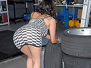 Amazing hot ass checked mini skirt latina gets drilled hard up her ass and creamed in her mouth in these auto racing shop fucking pics and 4 hot movies