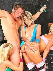 Hot long leg big tits workout gym instructors get fucked in the gym in this group sex masturbation and chained up fucking school party