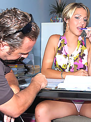 Super hot long leg hot ass mini skirt babe get fucked hard at the travel agency office in these hot reality amateur fuck pics