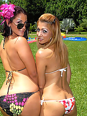 2 hot brown ass babes get fucked hard up their tight pussies in these hot anal pussy mouth fucking poolside wet pic party