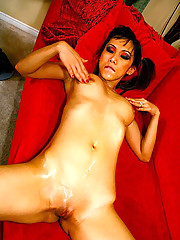 Smoking hot long leg asian gets her hot pussy fucked hard after stripping in this hot massage parlor