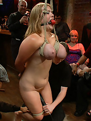 Two girls with gigantic natural tits are tied up and fucked hard