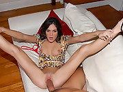 Super hot slim brunette gets pounded hard after stripping her tight body 4 hot fucking movies