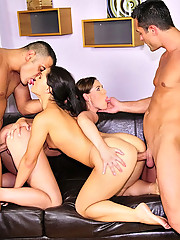 Smoking hot long leg euro club babes get fucked up their tight ass pussy and mouths in this full on fuck group sex pic set hot