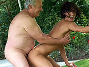 Senior fucking in a horny outdoor threesome