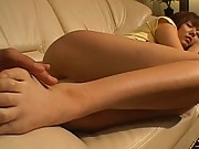 Yuma Asami has her ass groped as she sleeps on the couch