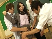 Yuka Osawa in her schoolgirl uniform getting fondled
