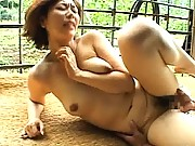 Chisato Shouda naughty milf groped and fucked outdoors