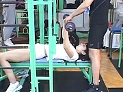 Amateur completes her workout in a public gym in her panties