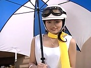 Aki Anzai adorabale asian girl in a white racequeen uniform