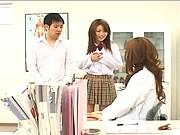 Chihiro Hara watches a schoolgirl suck her boyfriends cock