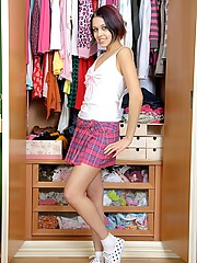 Virginal teenager in closet takes off clothes