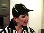 Retro referee chick fucks a football player