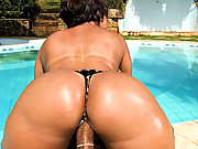 Amazing mega hot big ass babe takes a cock deep in her ass and gets her mouth fucked at the pool in these wet fucking 4 hot movies
