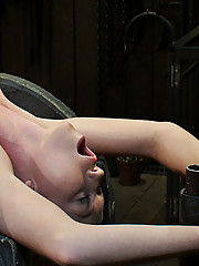 Super cute Madison Scott metal bound over a spool, nipples stretched to oblivion.