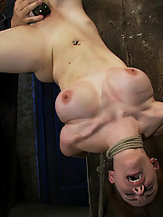 19 year old girl next door in her first ever porn shoot, takes on a category 5 suspension and is made to cum, while hanging upside down and helpless!
