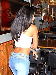 Check out this super hot latina get fucked hard agasint the wall in these hot reality bar fuck pics