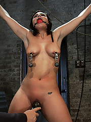 Real girl next door gets bound spread, pussy flogged, nipples tortured and made to cum like a common whore.