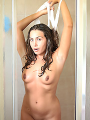 Renna plays in the shower