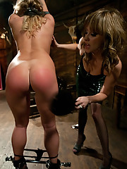 Aurora Snow is tied up, spanked, then ass fucked till she