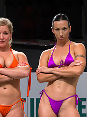 Dia Zerva former Marine and smoking hot big titted blond, destroys Wenona, hard body and former collegian gymnast.  Un-scripted sex wrestling, brutal!