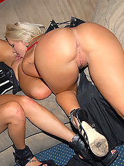 Amazing mega hotties get their big tits hot long leg bodies fucked in a club in these hot lesbian fucking masturbation pics