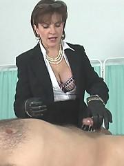 Cum milking handjob milf dominatrix