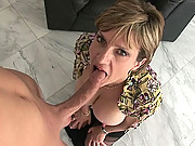 Milf boss blows younger studs cock