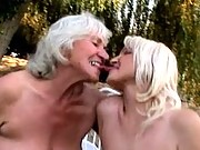 Big titty grannys french kissing