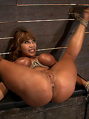 Hot big titted tan MILF, is bound and finger fucked until she squirts all over her self, very humiliating.